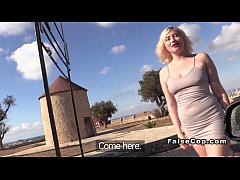 Nasty blonde fucks fake cop doggy style outdoor