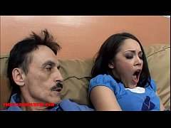 Tiny Asian teen tight pussy gets broken by dirty old man and let's grandpa cum in her mouth