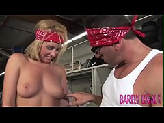 Young Bella Cole cowgirl after riding biker dick