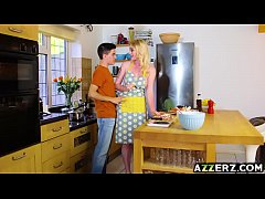 Busty gf Carly Rae hot fuck with bf in the kitchen