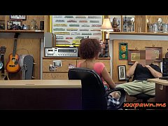 Cute ebony babe gives head and gets her tight pussy drilled by pawn keeper at the pawnshop