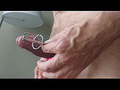 A shaved cock with dilator and cum