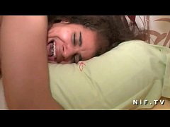 Small titted amateur brunette sodomized and jizzed on body
