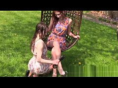 Two Girls get wet in Garden and Strip