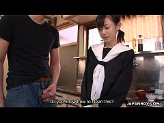 Asian cuttie cleaning her brother's erect boner