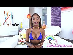 SWALLOWED Sexy ebony teen loves to suck and swallow