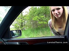 thumb stranded blonde  teen fucking in car pov n car n car pov n car pov