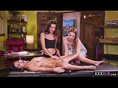 Three lesbian friends in massage action and fin...