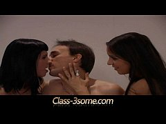 Brunettes share and swap cum after three fucking