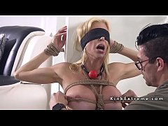 Blindfolded blonde gagged with huge dick