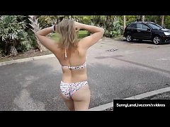 Horny Honey Sunny Lane Plays With  Her Juicy Pussy In Parking Lot!