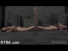 Tough angel is hoisted up and given wet crack punishment