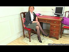 British milf Clare strips off her secretary out...