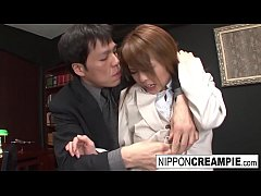 Asian office hottie gets gangbanged by her coll...