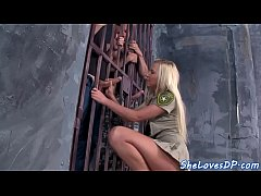 Police babe spitroasted anally by prisoners