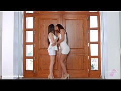 Lesbian lovers Alexis Brill and Diana Dolce licking and kissing on Sapphic Eroti