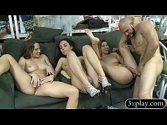 Three hot babes banged by one lucky dude for so...