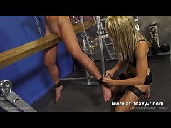 Wooden pony treatment for her shaved cunt