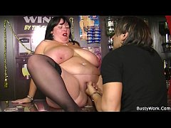 Big tits brunette bbw spreads legs for job
