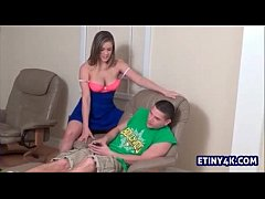 Big sister talks young brother into showing her his massive dick