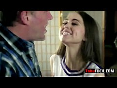 Stepdad rocks stunning brunette...