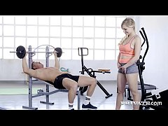 Sweaty Blonde Gabi Gold stuffs her beautiful bare box with a hard cock gym trainer who ends his training with a thick massive cum shot all over her hot face! Full Flick & 100's More at Private.com!