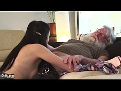Sensual Teen has sex with really old man and ma...