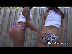 Amateur babes partying in milk in backyard