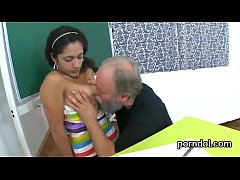 Sensual schoolgirl was tempted and fucked by he...