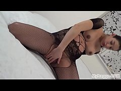 Pregnant Janetta Fucks Her Hairy Pussy with a Dildo!