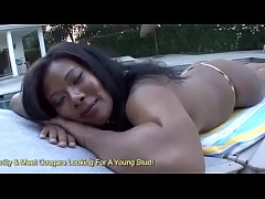 Busty Black Cougar Jessica Dawn Jizzed On By White Cock