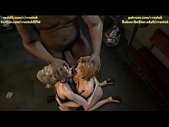 d. or Alive 5 hookers pleasing customers in the street (3D Animation)