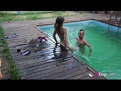 Lucky guy has a poolside threesome with two hot babes