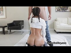 Curvy oiled Latina throat fucked by a fat dick