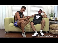 Handsome hunk Ricky Larkin worships young studs feet