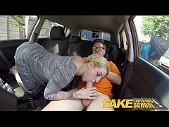 Fake Driving School British cheating blonde loula lou slurps up cumshot