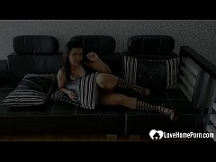 Hot beauty in boots fingers her juicy cunt