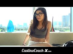 CastingCouch-X Teen with glasses auditions for ...