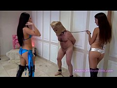 balls get bleed afte several kick by two mistreses.MP4