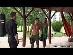 Slutty girlfriend cheating with a muscular guy