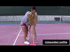 Busty lesbians masturbating on the tennis field