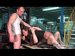 Female boss hard double penetrated by a pair of co worker