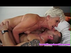 Old granny rides dick and gets doggystyled