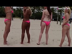 Beach volleyball turns to nasty groupsex