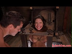 Pegged bdsm sub boxed before electrosex