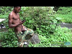 Brown soldier strips naked...