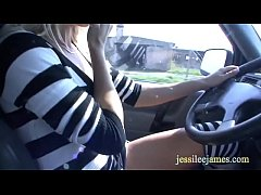 blonde in mini dress wearing no panties and fucks outdoors