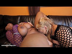 2 Busty BBWS Lick Each Others Tits and Clits