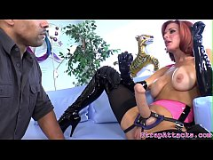 thumb redhead domi na pegging and rimming her sub