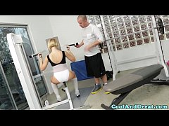 thumb bigtitted sk ank bouncing spotters dick in gym